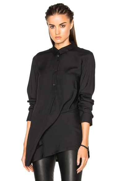 Ann Demeulemeester Asymmetric Popover Top in Black