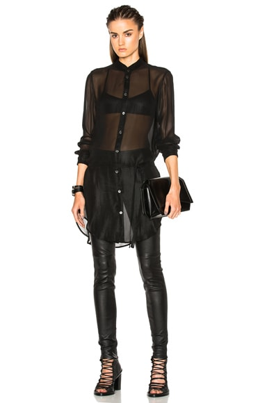 Ann Demeulemeester Long Belted Tunic in Black