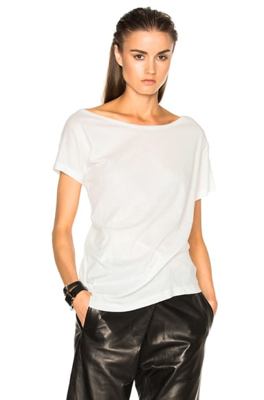 Ann Demeulemeester Short Sleeve Wrap Tee in Off White