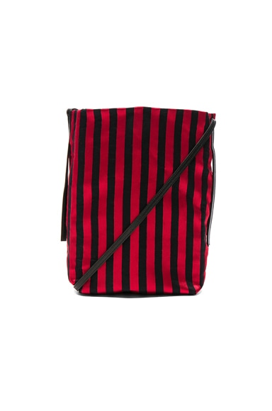 Ann Demeulemeester Striped Satchel in Ruby & Black