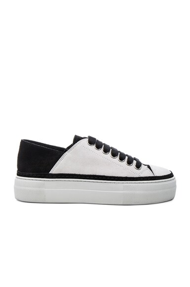 Ann Demeulemeester Suede Low Top Sneakers in Black & White