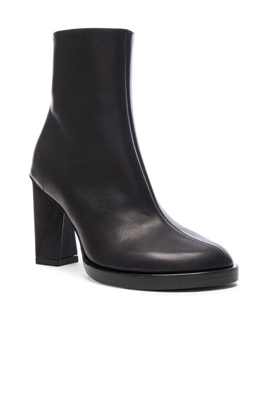 Leather Twist Heel Boots