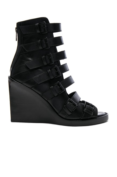 Ann Demeulemeester Leather Wedges in Black & Black