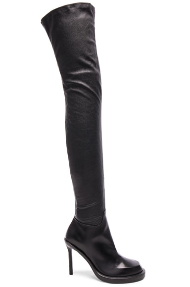 Ann Demeulemeester Over the Knee Leather Boots in Black