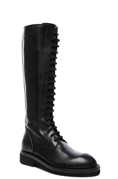 Stipe Flat Lace Up Leather Boots