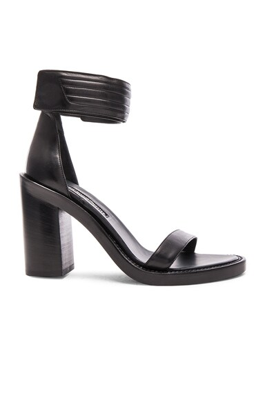 Ann Demeulemeester Leather Ankle Strap Heels in Black