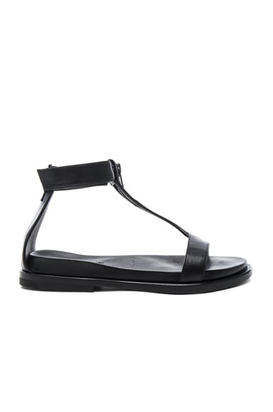 Ann Demeulemeester Leather Flat Sandals in Black