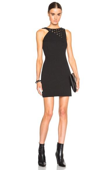 Anthony Vaccarello Strappy Eyelet Mini Dress in Black