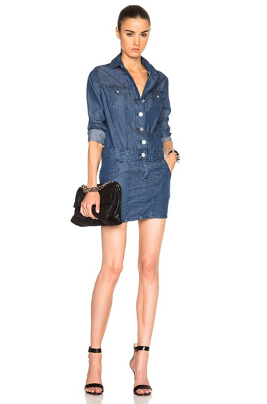 Anthony Vaccarello Denim Shirt Dress in Indigo