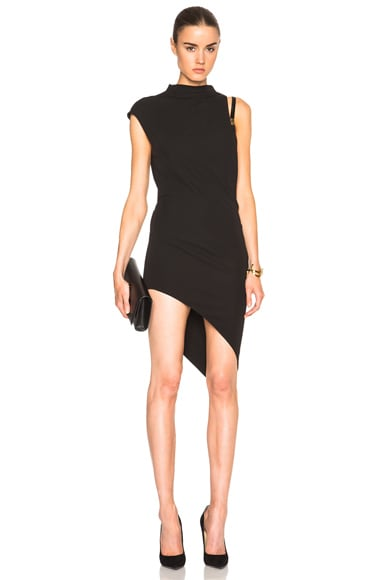 Anthony Vaccarello One Side Strap Sleeveless Dress in Black