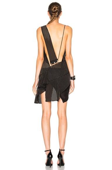 Combo Perforated Ruffle Spaghetti Strap Dress