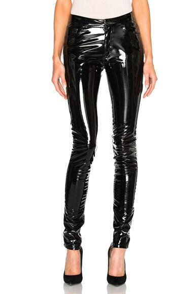 Anthony Vaccarello Slim Vinyl Pants in Black