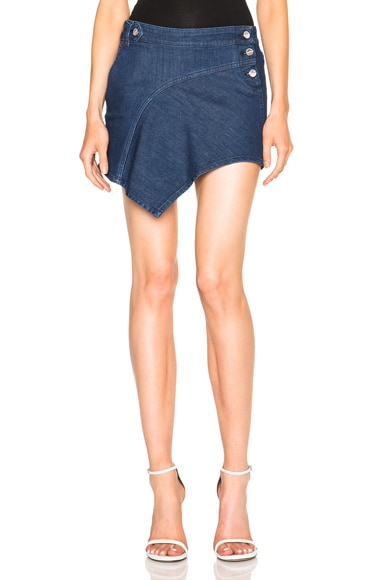 Anthony Vaccarello Denim Mini Skirt in Indigo