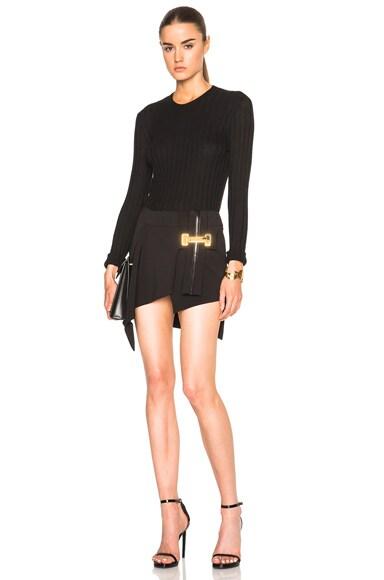 Vertical Belt Asymmetrical Skirt
