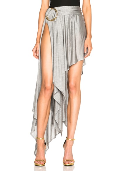 Anthony Vaccarello Double Ring Full Ruffle Maxi Skirt in Grey
