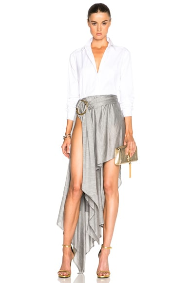 Double Ring Full Ruffle Maxi Skirt