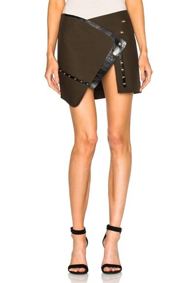 Anthony Vaccarello Open Button Down Split Mini Skirt in Khaki