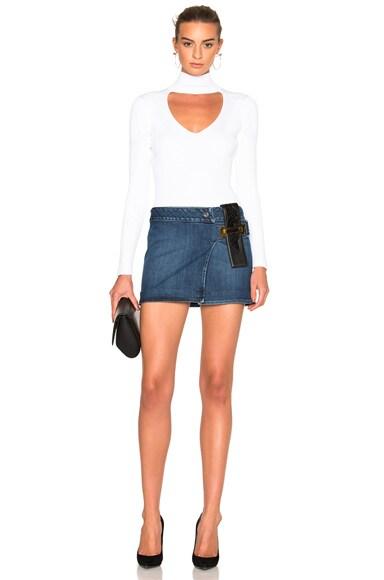 Leather Strap Combo Mini Skirt