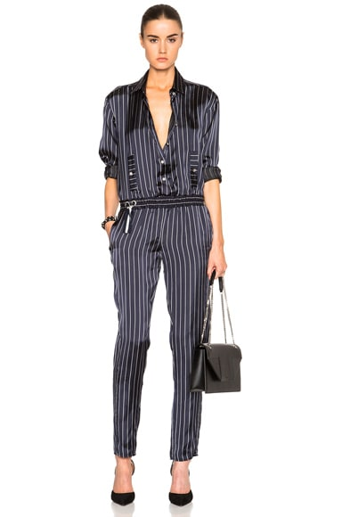 Anthony Vaccarello Long Sleeve Jumpsuit in Striped Marine & White