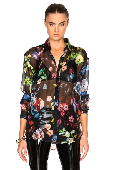 Anthony Vaccarello Multi Flower Print Classic Shirt in Multi