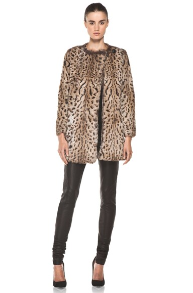 Lapin Imprime Leopard Fur Jacket