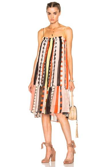 Apiece Apart Dafni Sweep Dress in Abstract Soilel Stripes