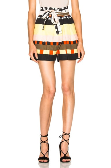 Apiece Apart Baja Wrap Shorts in Abstract Soilel Stripes