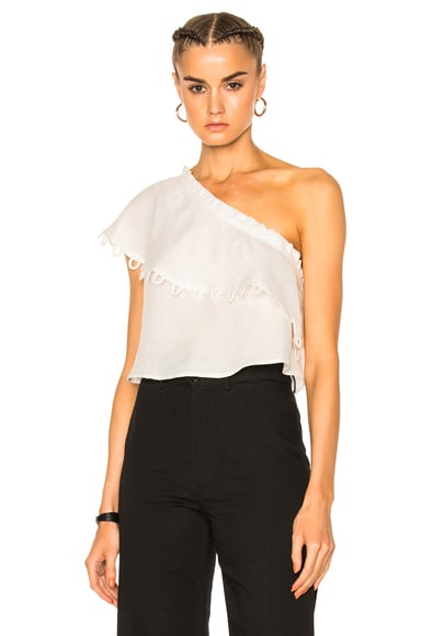 Apiece Apart Zahar One Sleeve Top in Cream