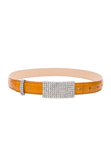 Crystal Buckle Eel Skin Belt