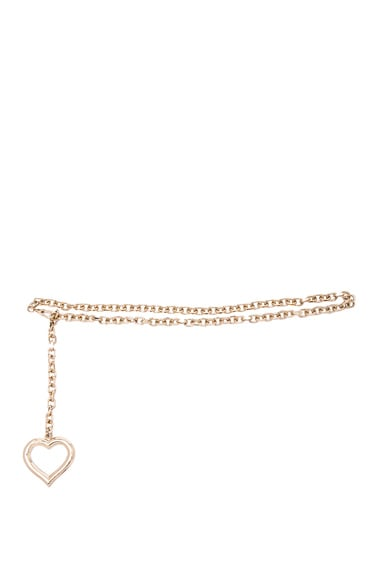 Alessandra Rich Chain Belt with Hanging Heart in Gold