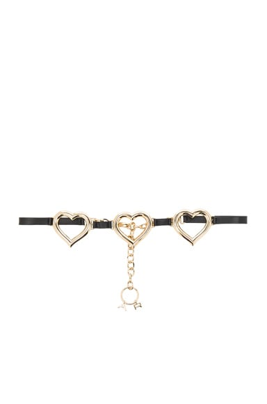 Alessandra Rich Leather Belt with Hanging Chain in Black