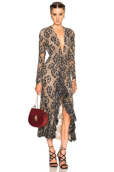 Alessandra Rich Lace Dress with Volant in Black