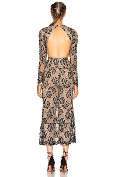 Lace Dress with Volant