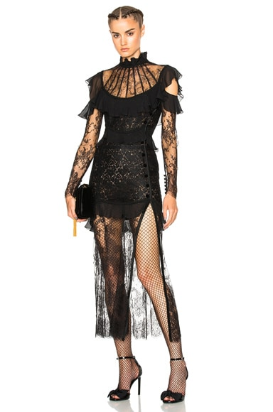 Alessandra Rich Lace Decollete Chantilly Lace Dress in Black