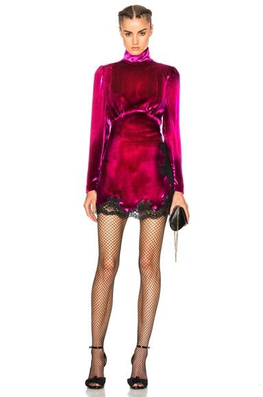 Alessandra Rich Velvet Baby Doll Dress in Fuchsia