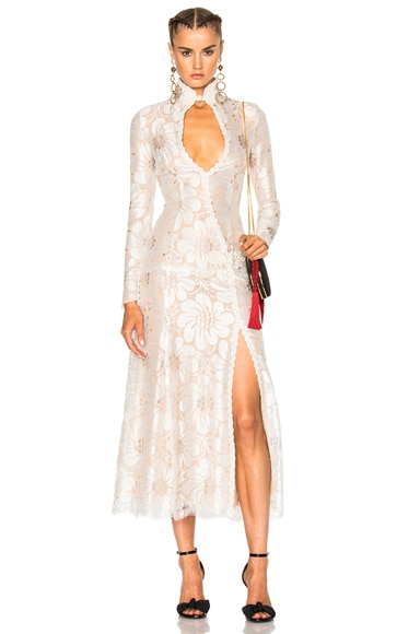 Alessandra Rich EXCLUSIVE L'Amant Chantilly Embellished Lace Dress in White