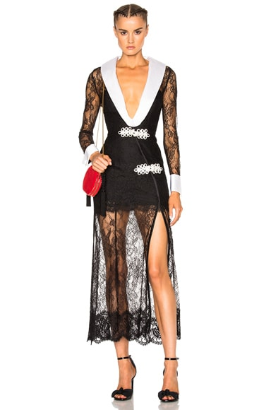Alessandra Rich Chantilly Lace Robe Dress with Satin Lapels in Black