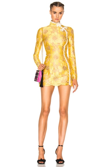 Alessandra Rich Flower Lace Mini Dress in Yellow