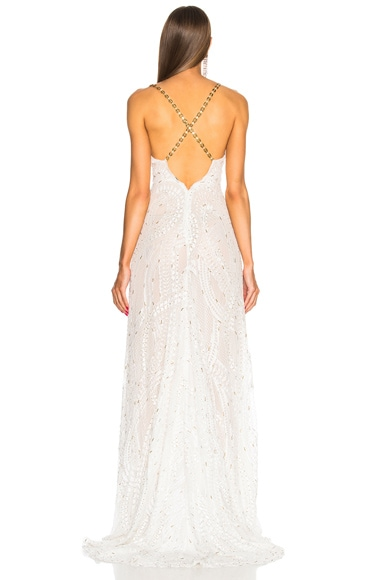 Crystal Embroidered Plunging Lace Gown