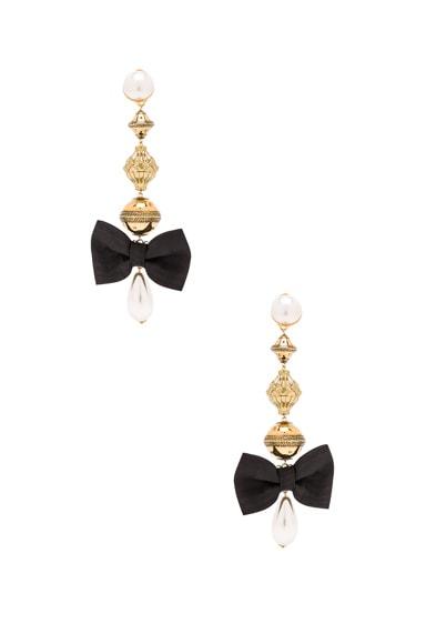Alessandra Rich Pearl & Bow Earrings in Black