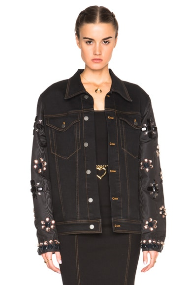 Denim Jacket with Embellished Sleeves