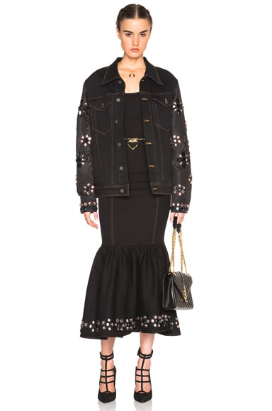 Denim Jacket with Embellished Sleeves