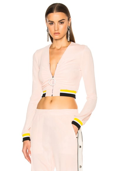 Alessandra Rich Zip Up Tracksuit Jacket in Pink