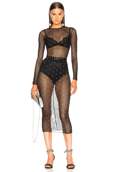 Mesh Bodysuit with Crystals