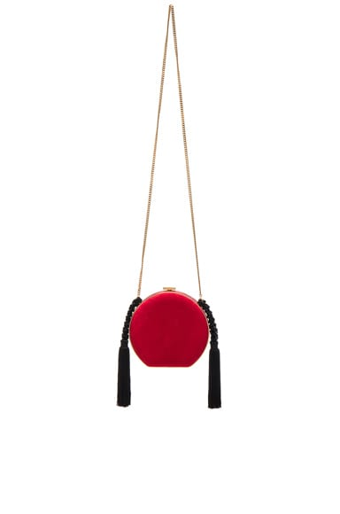 Alessandra Rich Suede Minaudiere in Red