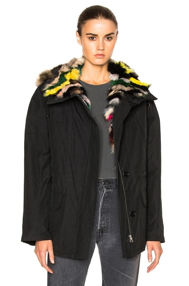 Army by Yves Salomon Reversible Fox Short Parka Jacket with Fox Fur in Black Multi