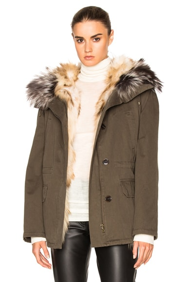Army by Yves Salomon Reversible Classic Parka Jacket with Fox Fur in Trellis & Iceberg