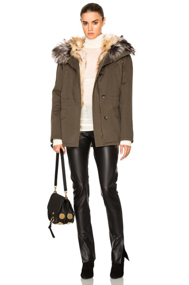Reversible Classic Parka Jacket with Fox Fur