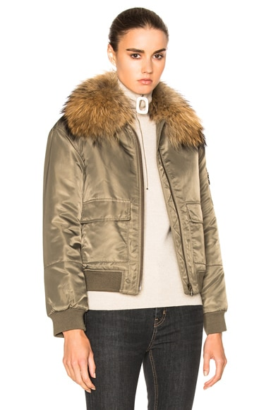Army by Yves Salomon Nylon Bomber Marmotte Jacket in Bronze & Natural