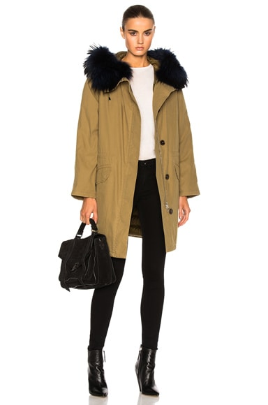 Army by Yves Salomon Classic Cotton Parka Jacket With Racoon Fur in Amazon Navy
